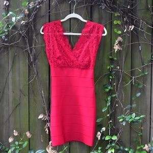 Slim fitting red dress with red sheer fabric!